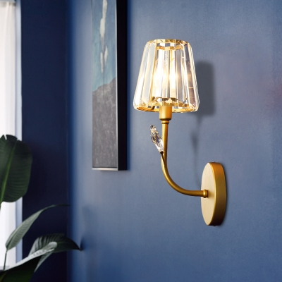 Crystal Tapered Shape Wall Light Sconce Modernism 1/2-Head Brass Finish Wall Mounted Lamp with Branch Arm