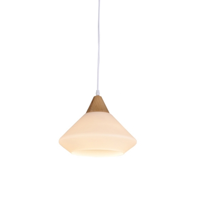 Diamond Suspension Light Modernist White Glass 1 Light Dining Room Wood Hanging Pendant