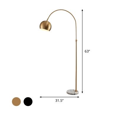 Domed Metal Reading Floor Lamp Post-Modern 1 Head Black/Brass Finish Overarching Standing Lamp
