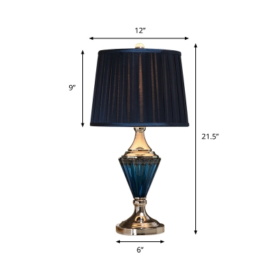Gathered Fabric Black Table Light Tapered Drum 1 Bulb Retro Night Stand Lamp with Blue Ribbed Glass Base