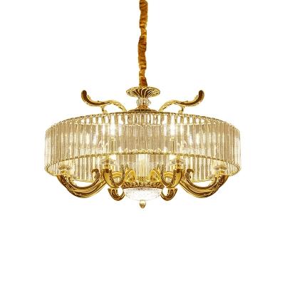 Round Living Room Chandelier Lighting Modern Crystal Rectangle 6/8-Bulb Gold Pendant Lamp