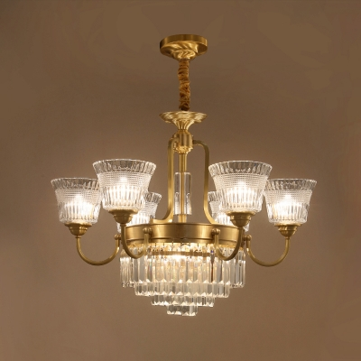 6/8 Bulbs Suspension Light Traditional Bell Clear Glass Crystal Up Pendant Chandelier in Brass