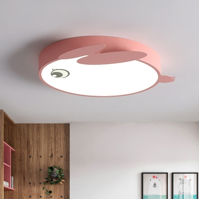 Acrylic Rabbit Shaped Ceiling Flush Cartoon LED Flushmount Lighting in Blue/Pink for Kids Bedroom