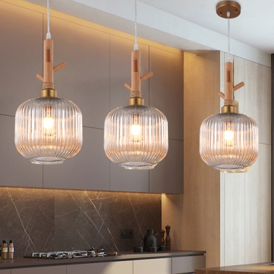Amber Ribbed Glass Drum Pendant Light Modernism 1 Head Hanging Ceiling Lamp with Wood Branch Top