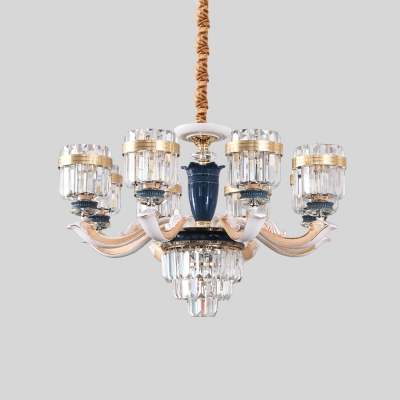 Clear Crystal Block Cylinder Chandelier Traditional 6/8-Head Dining Room Hanging Ceiling Light