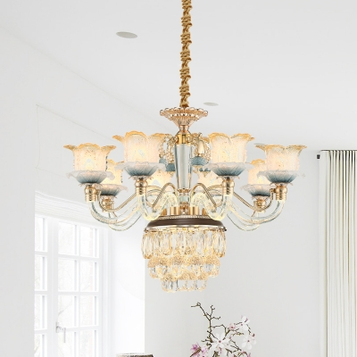 Gold 8 Heads Ceiling Chandelier Traditional Crystal Flower Hanging Pendant Light with Droplet, HL615918