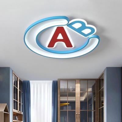 Letter Flush Light Fixture Cartoon Acrylic LED Bedroom Flush Mount in Blue and Red, Warm/White Light