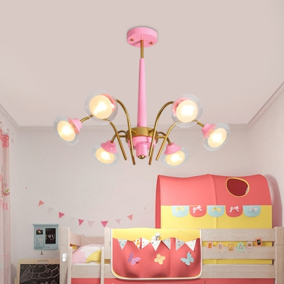 Metal Curved Arm Ceiling Chandelier Macaron 6 Heads Pink/Blue and Gold LED Hanging Pendant