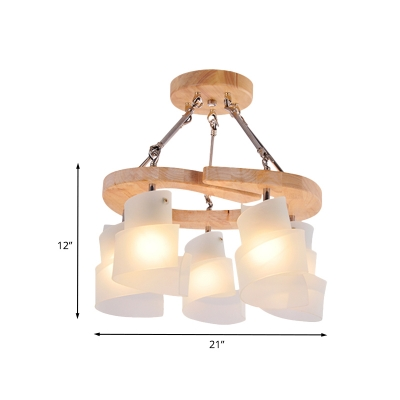 Modern Spiral Panel Hanging Lighting White Frosted Glass 3/5 Bulbs Living Room Pendant Chandelier with Wood Shelf
