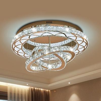 Multi Ring Crystal Ceiling Light Simple LED Living Room Flush Mount Spotlight in Chrome