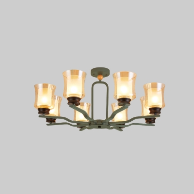 Radial Iron Ceiling Flush Modern Nordic 8 Heads White/Grey/Green Finish Semi Flushmount with Cup Tan Glass Shade