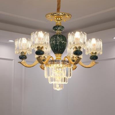 Red/Green Urn Chandelier Light Fixture Traditional Crystal 6-Light Living Room Pendant Lamp
