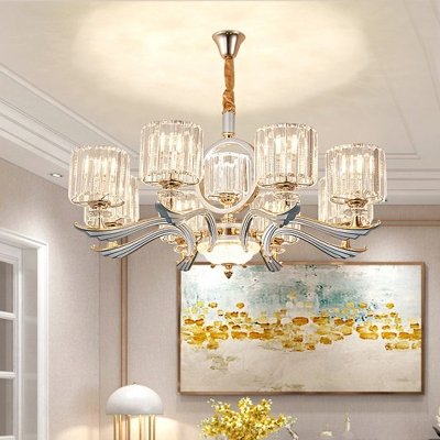 Silver Cylinder Pendant Chandelier Contemporary Crystal Block 6/8 Lights Dining Room Suspension Lamp