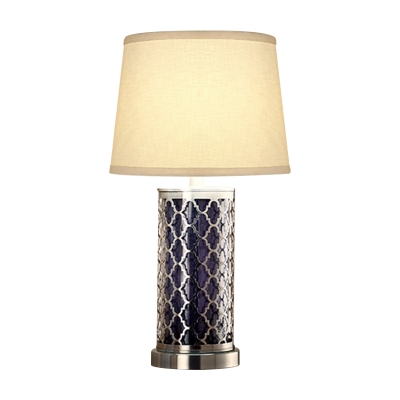 Single-Bulb Fabric Night Light Retro White Tapered Table Lamp with Nickel Quatrefoil Pillar Base