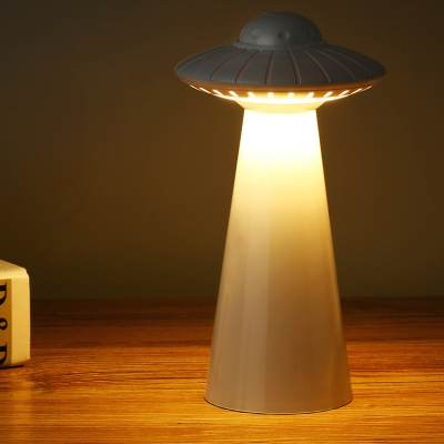 UFO Shape Rechargeable Night Light Kids Plastic LED Bedroom Night Table Lamp in Black/White/Pink
