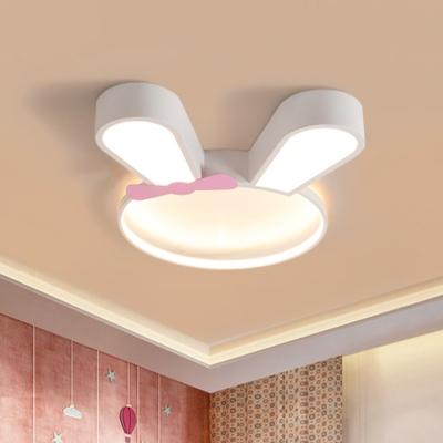 White Rabbit Frame Flush Light Fixture Cartoon LED Acrylic Flush Mounted Lamp in White/Warm Light