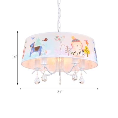 Animal Pattern Fabric Chandelier Pendant Kid 5 Lights Blue Suspension Lighting with Crystal Drop