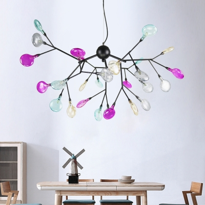 Black Branching Ceiling Lamp Contemporary 27/36-Bulb Cognac Glass Pendant Chandelier for Living Room