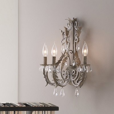 Crystal Bead Wrapped Candle Wall Lamp Rustic 3 Heads Bedroom Sconce Light with Scroll Arm in Grey/White