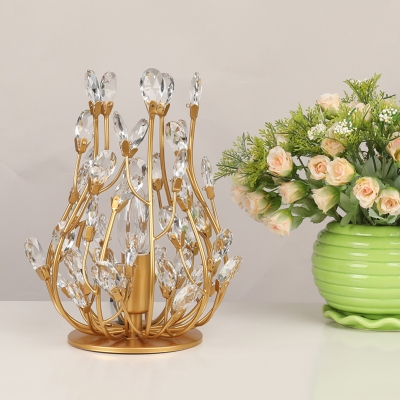 Floral Crystal Small Night Stand Light Retro 1 Head Living Room Table Lighting in Gold/Silver