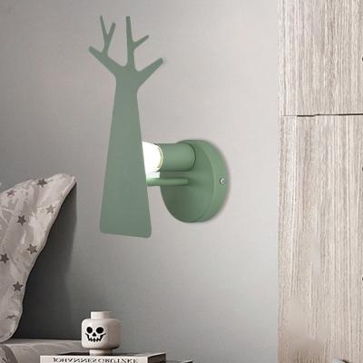 Iron Tree Panel Sconce Light Fixture Macaron 1 Light Grey/White/Green Finish LED Wall Lamp for Foyer