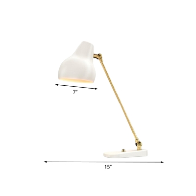 Metal Urn Reading Book Light Modern LED White and Gold Rotatable Table Lamp for Study Room