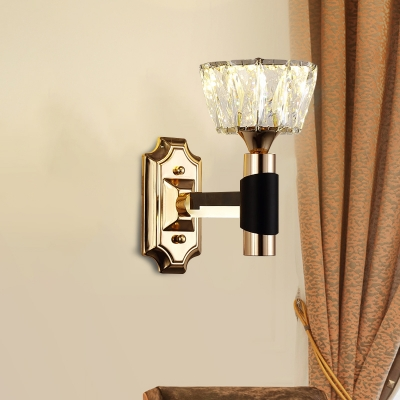 Modernist Bowl Wall Mount Light 1/2-Bulb Crystal Rectangle Sconce Lamp in Black and Gold