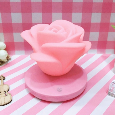 Plastic Rose Shaped Mini Table Light Creative LED Touching Nightstand Lamp in White/Pink/Blue