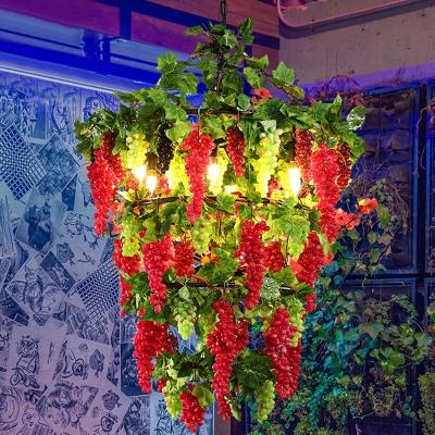 Red Round Chandelier Pendant Light Vintage Iron 6 Lights Restaurant Drop Lamp with Fruit Decor, HL614431