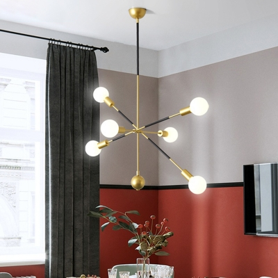 Sputnik Linear Metal Chandelier Lighting Modern 6 Lights Black and Gold Hanging Lamp Kit