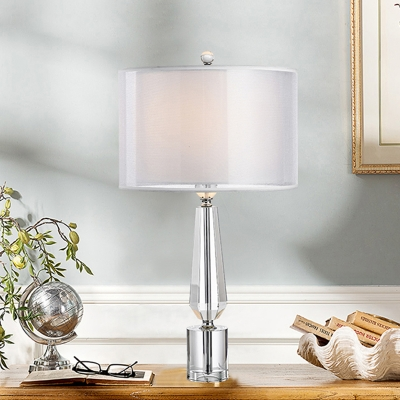 Sword Base Clear Crystal Table Light Modern Style 1 Bulb Living Room Night Lamp with Grey Fabric Shade Inside