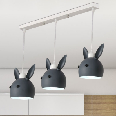 3 Bulbs Dining Room Suspension Pendant Cartoon Pink/Grey Multi Hanging Light with Rabbit Metal Shade