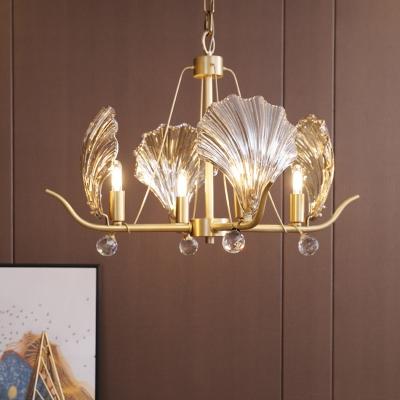 4 Lights Clear Glass Chandelier Lighting Modernist Brass Shell Shape Bedroom Pendant Lamp