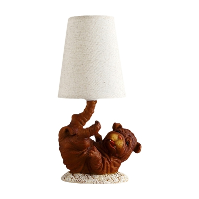 Brown Doggy Nightstand Lamp Lodge Resin 1 Head Bedside Table Light with Deep Cone Fabric Shade