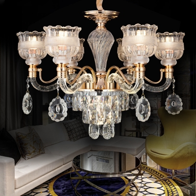Crystal Scalloped Bowl Chandelier Vintage 7 Heads Dining Room Ceiling Pendant Lamp In Gold Beautifulhalo Com