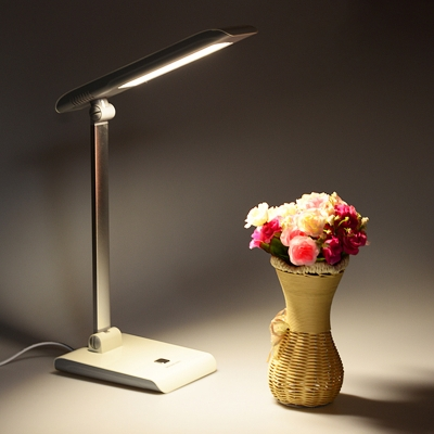 Metallic Rectangle Reading Book Light Modernist LED Desk Lamp in White/Rose Red with Foldable Design