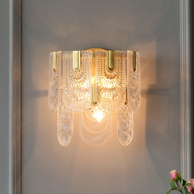 Panel Crystal Wall Light Sconce Traditional 3 Bulbs Wall Lamp Fixture in Brass for Living Room, HL615674