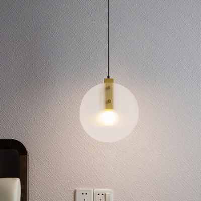 Post Modern Dual Disc Suspension Light White Textured Glass 1 Bulb Bedside Ceiling Lamp in Brass
