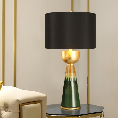 Retro Urn Base Table Lamp 1-Light Ceramic Nightstand Light with Black Drum Lamp Shade