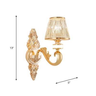 Tapered Crystal Sconce Light Fixture Modernism 1/2-Head Bedroom Wall Mount Lamp in Gold