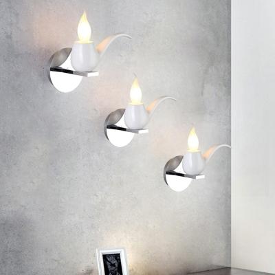 Tobacco Pipe Small Wall Lighting Modern Novelty Metal 1-Light Black/White/Red Sconce Light for Living Room