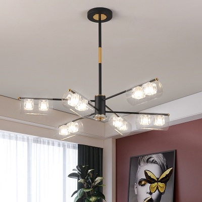 Tube Clear Glass Chandelier Lighting Modernism 12 Lights Black Finish LED Pendant Ceiling Lamp