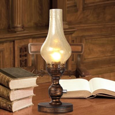 Vase Orange/Clear Water Glass Table Light Vintage 1 Bulb Bedroom Desk Lighting with Metal Base, Orange;tan;yellow;clear, HL614235