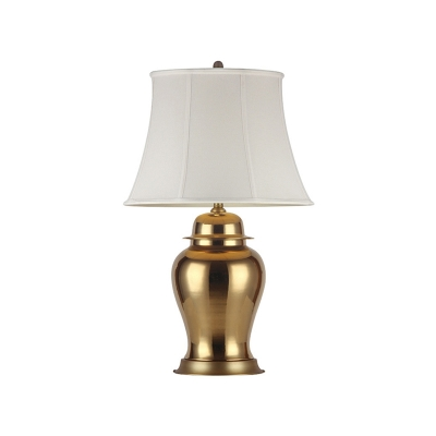 Antiqued Gold Single Night Lamp Vintage Fabric Flared Table Light with Urn Pedestal