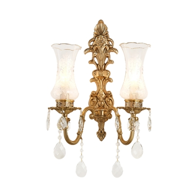 Brass 2 Heads Sconce Lighting Traditional Clear Glass Vase Wall Lamp Fixture with Crystal Droplet