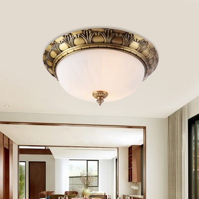 Brass 4-Head Ceiling Lamp Traditional Frosted White Glass Dome Flush Mount Fixture, 12