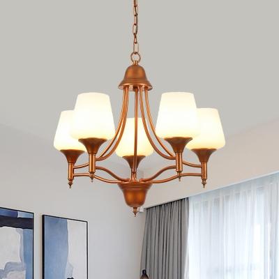 Cup Shape Living Room Ceiling Chandelier Antiqued Opal Glass 3/5/6 Heads Bronze Up Pendulum Light
