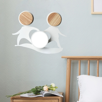 Double Man Shape Iron Wall Lighting Ideas Macaron Grey/White/Green and Wood LED Wall Lamp Sconce
