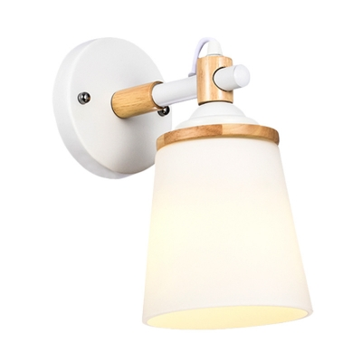 1 Head Bedside Sconce Light Fixture Modernist White/Black and Wood Wall Lamp with Barrel Cream Glass Shade