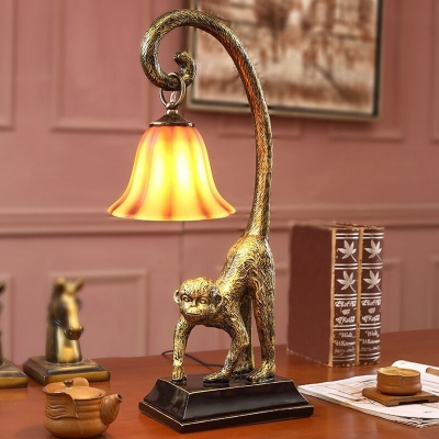 Antiqued Bronze Monkey Servant Table Lamp Vintage Resin 1 Bulb Parlor Nightstand Light with Carillon Glass Shade
